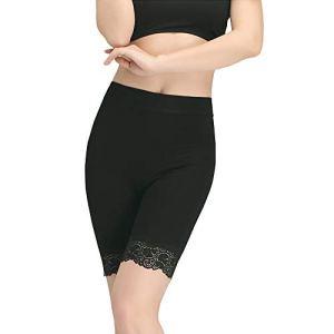 Femmes Panty Coton Femmes sous Jupe Shorts Pantalon De Sécurité Doux Stretch Dentelle Garniture Leggings Short(Noir)