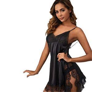 HRSD Sexy Femme Transparent Chemise Dentelle sous-vêtements Lingerie Nuisette V Col Robes Chambre Et Kimonos Peignoirs Bain Pyjama Partie Sommeil Nuit,Noir,S