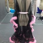 HYISHION Pyjama Sexy Femme, Robe de Chambre en Tulle Plume, Peignoir Transparent Sexy Lingerie Jupe Longue Dentelle, Feeling Exotique Perspective Lingerie