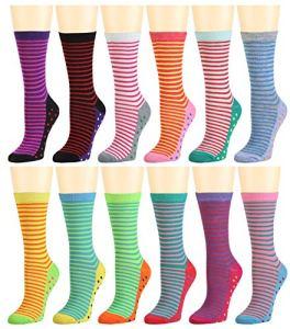 Lot de 12 paires de chaussettes en coton pour femme Couleurs assorties – – taille unique