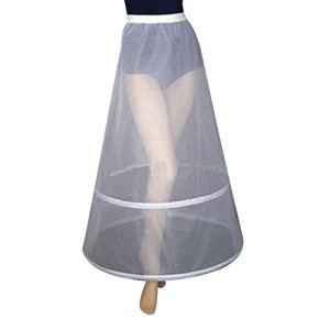 PHILSP Womens Bridal 2 Hoops A-Ligne Cheville Longueur Glissement Complet Jupon Une Couche élastique Taille Empire Robe de mariée Crinoline Underskirt