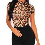 SEBOWEL Femme Body Sexy léopard Manches Courtes Col en V Combinaison de Saut Tops Bodycon Chemisier T-Shirt Clubwear (S, Marron)