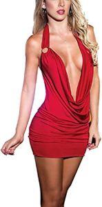 Shangrui Femmes de la Série Uniforme Dos Nu Vêtements de Club (Large, vin Rouge)