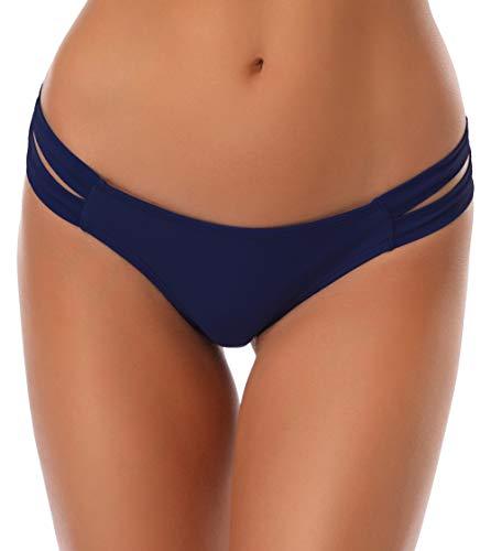 SHEKINI pour Femme String Maillots de Bain Brésilien Bikini Bottom Thong Panty String Bas de Maillots Sexy Bas Swim Trunks Taille Basse Tanga Bas de Plage Slip de Bain (Small, Bleu foncé)