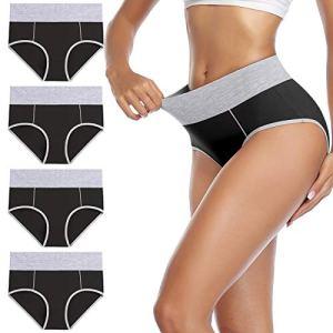 wirarpa Culotte Femme Coton Culottes Taille Haute Slip Sport Noir Lot de 4 Taille M