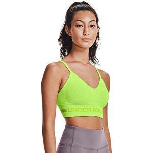 Under Armour Soutien-gorge sans coutures pour femme, Femme, Sweat-shirt àcapuche, Seamless Low Long Htr Bra, Vert citron (291), Medium