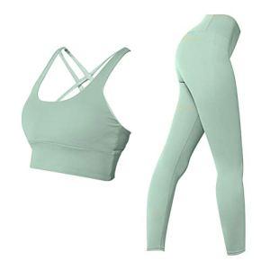 Abaodam Soutien-gorge et leggings de yoga pour femme – Tenue de yoga pour entraînement et fitness