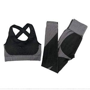 asdfwe Femmes Yoga sans Ensembles 2 Pièces | Nervuré Soutien-Gorge Sport Taille Haute Leggings Vêtements Gym Set | Vêtements De Sport pour Femmes Set S Black