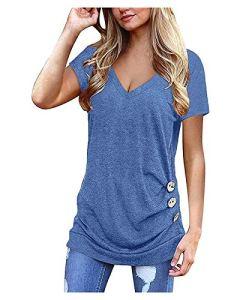 Mesdames Summer Couleur en V-Col V-Col V Raglan Décontracté à Manches Courtes T-Shirt Top T-Shirt Top (Color : Blue, Size : Small)