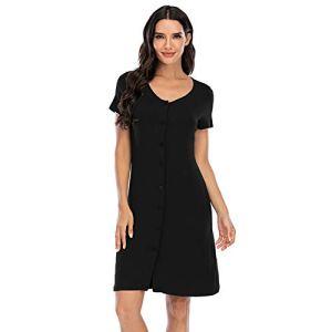 XHJZ Nightshirt Femme Bouton à Manches Courtes vers Le Bas Nightgown Col V-Col Vêtements de Nuit Robe de Pyjama,Noir,XXL