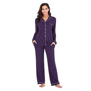 XHJZ Pyjama Femme Sets Bouton à Manches Longues Dégustres de Nuit Vêtements de Nuit Softwear Soft PJS Lounge Ensembles V Cou De Dex-vêtements avec Pantalon S-XXL,Violet,XL
