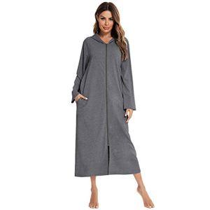 XHJZ Robe à glissière pour Femmes Peignoir léger Doux Poches à Manches Longues Housecoat Knightkown (S-XXL),Dark Gray,L