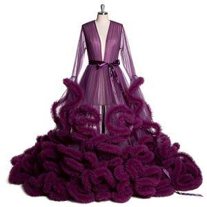 AYUSHOP Lingerie sexy pour femme, robe de nuit sexy transparente en maille avec manches évasées et plumes