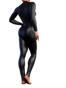 Booty Sculpted Full Black Faux Cuir Leather Bodysuit | Women's Workout Jumpsuit (M)