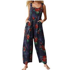 Chunxiao Ensemble porte-jarretelles pour femme – Imprimé floral – Coupe ample – Style rétro années 90 – Avec poches – – 52