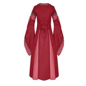 Costume Deluxe de Reine Médiévale, Rouge, avec Robe, Ceinture et Coiffe(Rouge,Large)