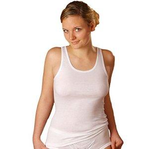 HERMKO 1310 Lot de 5 Caracos pour Femme en 100% Coton Biologique, Tank Top, Couleur:Blanc, Taille:38/40 (S)