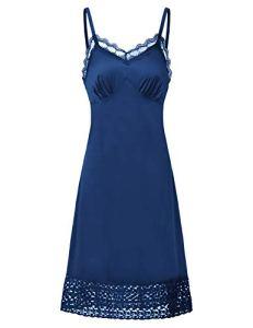 Nuisette Femme Chemise de Nuit Femme Robe de Nuit Bretelles Reglables Bleu Marine S BPE2041-3