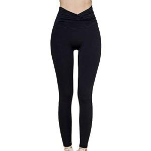 OYUEGE Leggings de fitness pour le levage des fesses, taille haute avec contrôle du ventre, pantalon de yoga, amincissant, gym, entraînement, course à pied – Noir – S