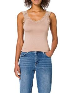 Pieces PCBARBERA Lace Top Noos Caraco, Taupe, L Femme