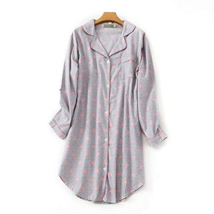WUCHENG Coton rayé Home Home vêtements Femme Maison Homewear Manches Longues Bouton Robe de soirée Femme Printemps Pull Pull Femme Pyjamas (Color : Gray Love, Size : 16 18)