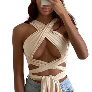 Y2k Haut court sexy pour femme avec découpes et bretelles – Rose – Taille Unique