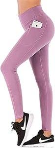 avec Poches Pantalons d'entraînement Leggings de Compression, Collants de Levage des Fesses en Tissu Extensible Non Transparent (Color : Purple, Size : Medium)