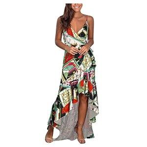 BUKINIE Robe ete Femme Robe de Plage D'été Longue Sexy Boheme Impression Robe à Bretelles Floral Manches Sans Maxi Robe Chic Pas Cher
