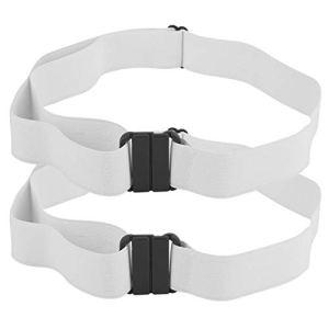 Ellenny Ceinture de Taille – 2PCS Simple Casual Unisexe Boucle Libre Stretch Haute Taille Élastique Ceinture Ceinture Sangle(Blanc)