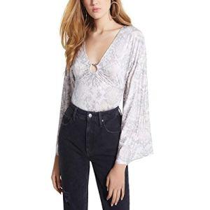 GUESS Womens Jazzi Printed Kimono Sleeves Bodysuit Gray L