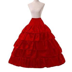 LIUWEI jupon 4 cerceaux 5 couches robe de bal jupestiques jupons noirs jupon de jupon de gros volants accessoires de mariage tulle sous-vêtements (Color : Red)