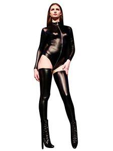 no-branded Bodysuits Sygjal Body à Manches Longues et col roulé Sexy for Femmes (Color : Noir, Size : S)
