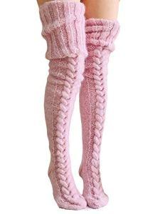 Springcmy Femme Hiver Chaud Laine Câble Tricot Multiple Chaussettes (Gris, Taille unique)