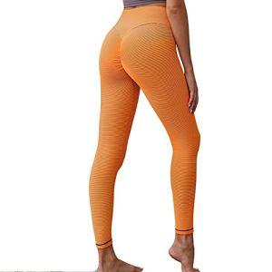 SuoSuo GWTRY Femmes Leggings Push Up Leggings entraînement Mujer Taille Haute Sport Femmes d'orange Leggings Fitness Femmes (Couleur : Orange, Taille : S)