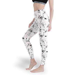 superyu Pantalon de yoga taille haute avec motifs d'oiseaux géométriques pour jouer – Blanc – M