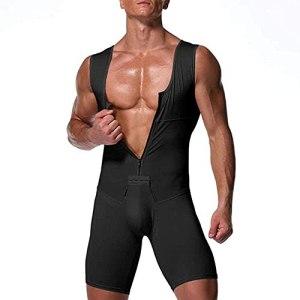 WXFASHION Hommes Shapewear Buttter Buttter Compression Abdomen Minceur Bodybuilding Workout Oneies sous-vêtements (Color : Noir, Size : 3XL)