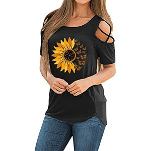 AIchenYW Haut d'été pour femme – Épaules dénudées – Avec imprimé tournesol – Mode basique – Décontracté – Col rond – Manches courtes – T-shirt de sport – Tunique – – XL