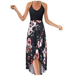AIchenYW Robe longue d'été pour femme – Motif floral – Irrégulier – Élégant – Col rond – Grandes tailles – Respirante – Sans manches – Décontractée – Mini robe – – 46
