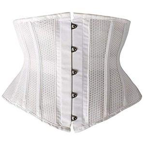 A+TTXH+L Serre Taille Mesdames Respirant Maille Taille Corset Minceur Corset Taille entraîneur (Color : White, Size : XXL)
