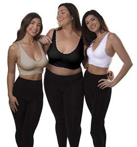 CARAMIA Lot DE 3 Soutiens-Gorge Taille Push up, Multi-Color, Large Femme