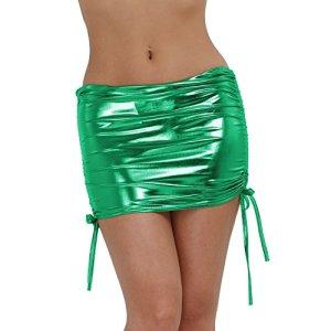 CHICTRY Femme Haute Taille Crayon Bodycon Mini Jupe Moulante Noir Faux Cuir Wetlook Zip Robe-Sexy Clubwear Soirée Mini Jupe Courte 10 Couleurs Vert Taille Unique