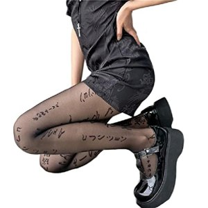 Femmes Sexy Lettres Japonaises Imprimer Collants Tatouage Irrégulier À Motifs sans Couture Collants Soyeux Style Goth Punk Bas en Maille Transparente Collants Transparents Collants Résille