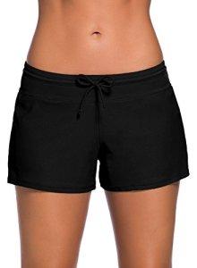 FIYOTE Shorts De Bain Femme Culotte de Maillot Casual Shorty de Plage Bas de Bain Décontracté Noir XL(EU48-50)