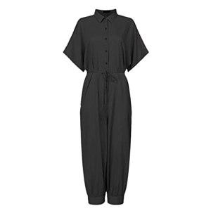 GFDFD Combinaison Femmes Plus Taille Imprimer Slim Bouton Long Bouton Rompers à Manches Courtes Jumpsuits Body Rompers (Color : Black, Size : 3XLcode)