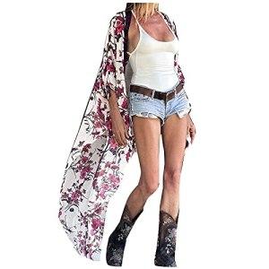 L9WEI Boho Cardigan en mousseline pour femme Robe de plage d'été décontractée Robe de plage Bikini Cover Up Mousseline de soie Poncho de plage Robe d'été