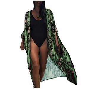 L9WEI Tie Dye Cardigan pour femme Robe de plage d'été décontractée Robe de plage Bikini Cover Up Poncho de plage lâche Robe d'été
