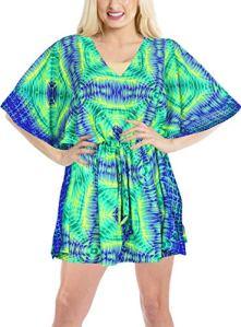 LA LEELA Bohême Imprimé Caftan Maillots de Bain Cover Up Femme Kimono Robe de Plage d'été Poncho Cache-Maillot Vert_Y320 XXL-3XL
