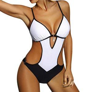 Maillot de bain 1 pièce pour femme – Push Up – Maillot de bain – Bandage gainant – Sport – Mode plage – Blanc – Small