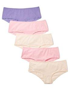 Marque Amazon – Iris & Lilly Slip Taille Basse Femme, Lot de 5, Multicolore (Almond/Pink Nectar/Veronica), S, Label: S