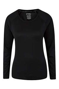 Mountain Warehouse T-shirt d'été Endurance pour femme – Léger – Longues manches – Séchage rapide – Protection UV – Pour voyages, course à pied et quotidien Noir 36